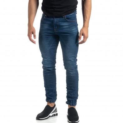 Намачкани сини мъжки дънки Slim fit it041019-20 3