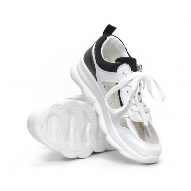 Дамски маратонки с прозрачни части в бяло и черно it240419-56 4