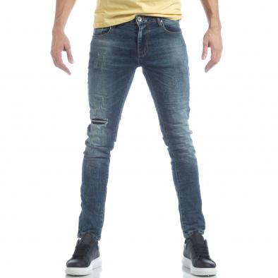 Сини мъжки Washed Jeans с кръпки it040219-10 2
