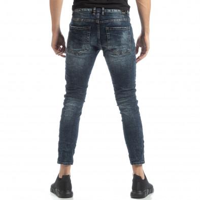 Мъжки сини дънки с износен ефект it051218-10 3