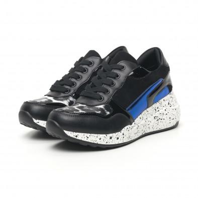 Дамски черни маратонки с лачени и сини детайли it281019-14 4