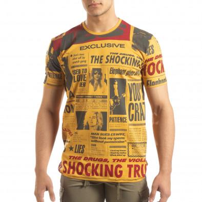 Мъжка тениска Exclusive News в камел  it150419-85 2