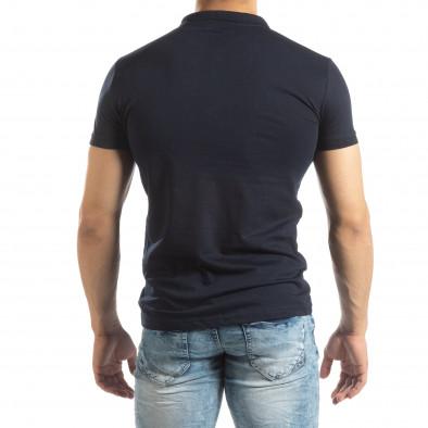 Мъжки Basic Polo shirt в тъмно синьо it150419-61 3