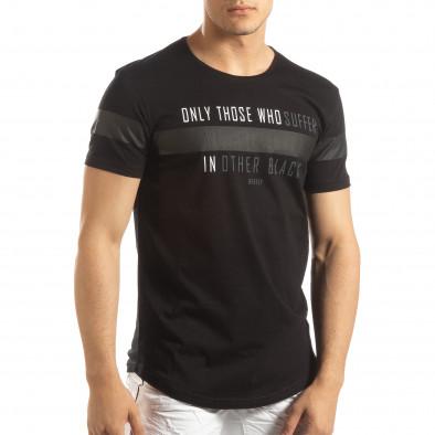 Мъжка удължена тениска в черно it150419-94 2