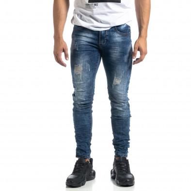 Сини мъжки дънки състарен ефект Slim fit it041019-33 3
