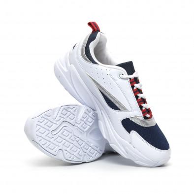 Ултралеки мъжки маратонки в бяло и синьо it260919-8 4