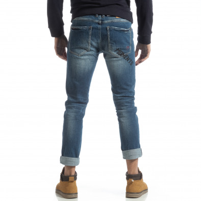 Мъжки сини дънки с принт и маншети it051218-7 4