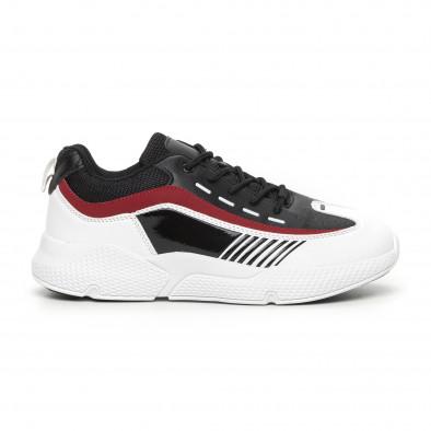Черно-бели мъжки маратонки с лачени части it130819-19 2