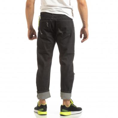 Мъжки черни дънки с много ефекти it090519-1 4
