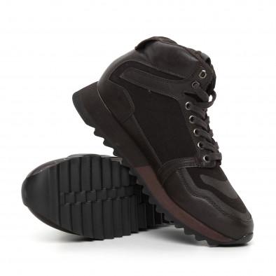 Мъжки високи спортни обувки в кафяво it130819-26 4