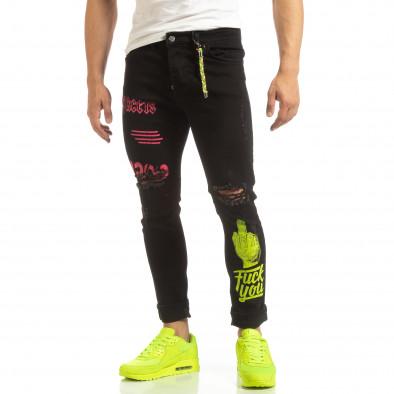 Скъсани мъжки черни дънки с цветен принт it090519-2 3