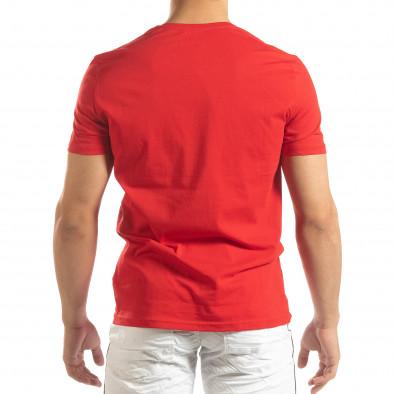 Червена мъжка тениска с гумени рамки it150419-70 4