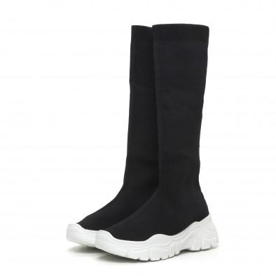 Дамски черни ботуши тип чорап бяла подметка it260919-66 3