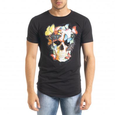 Мъжка черна тениска Romantic Skull iv080520-47 2
