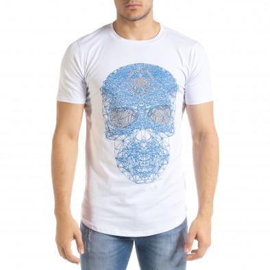 Бяла мъжка тениска с принт и камъчета iv080520-49 2