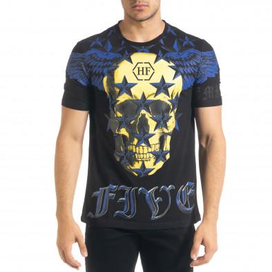 Черна мъжка тениска рокерски стил iv080520-51 2