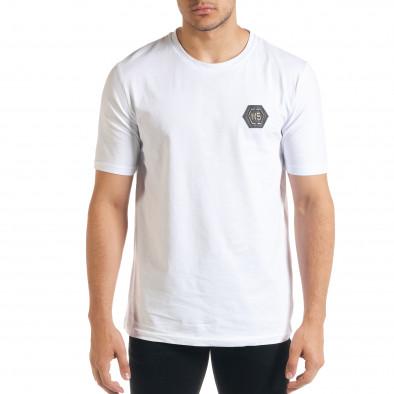 Бяла мъжка тениска с принт на гърба iv080520-50 3