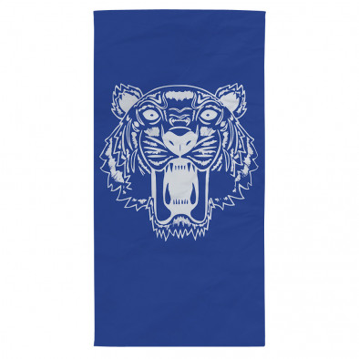 Плажна кърпа синя с принт бял тигър tsf120416-10 2