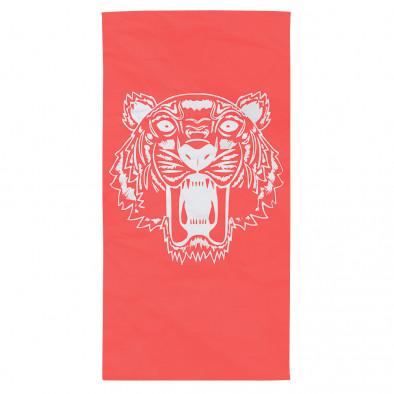 Червена плажна кърпа с щампа бял тигър tsf120416-12 2