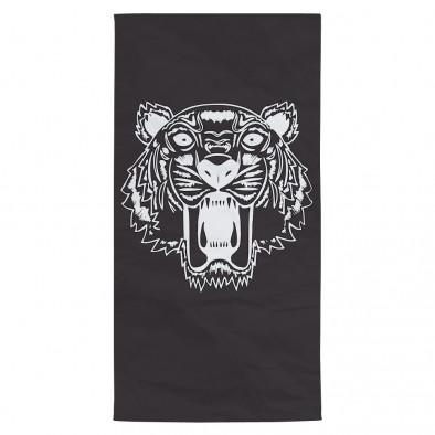 Плажна кърпа черна с принт тигър tsf120416-9 2