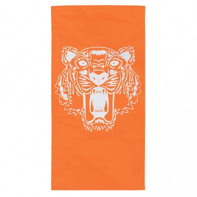 Оранжева плажна кърпа с принт тигър tsf120416-11 2