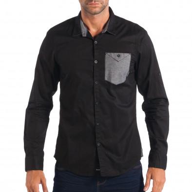 Мъжка риза с контрастен джоб CROPP в черно lp070818-119 2
