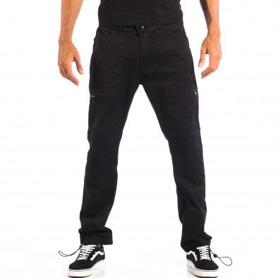 Мъжки черен панталон CROPP с ластик на крачолите lp060818-93 2