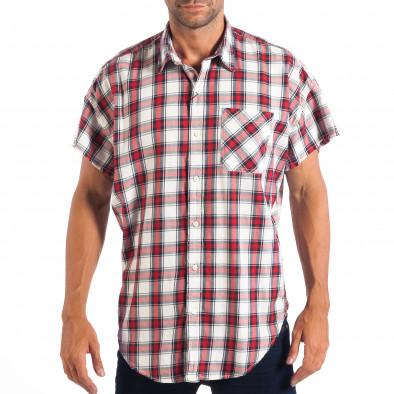 Regular риза с къс ръкав RESERVED червено каре lp070818-127 2