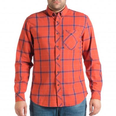 Мъжка риза с копчета на яката RESERVED в червено каре lp290918-172 2