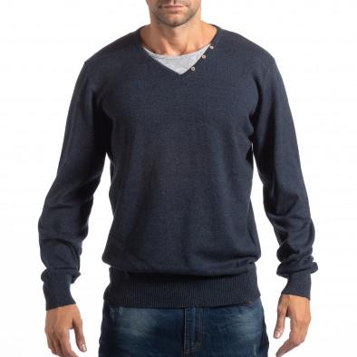 Мъжки син пуловер House с двойно деколте lp290918-95 2