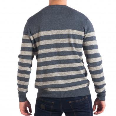 Мъжки син пуловер на широко райе lp070818-60 3