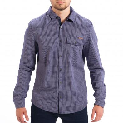 Мъжка карирана риза CROPP Slim fit в синьо lp070818-132 2