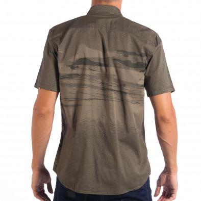 Зелена риза с къс ръкав Slim fit RESERVED с принт lp070818-122 3
