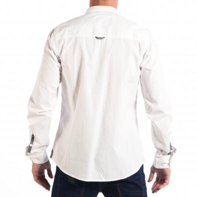 Мъжка риза с контрастен джоб CROPP в бяло lp070818-104 3