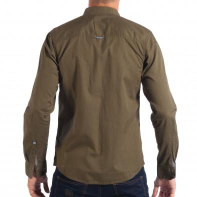Мъжка риза с контрастен джоб CROPP в зелено lp070818-105 3