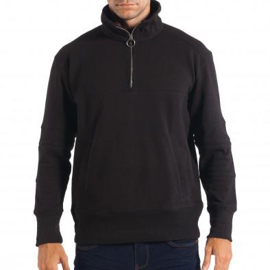 Мъжки черен суичер RESERVED с общ джоб lp080818-105 2