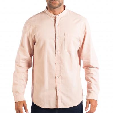Regular риза със столче яка RESERVED в розово lp070818-124 2