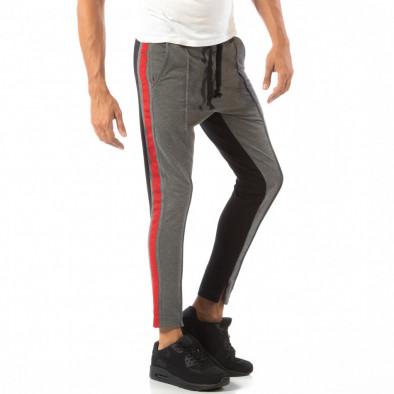 Мъжки Jogger в сиво и черно с червен кант it240818-100 2