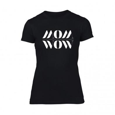 Дамска черна тениска Mom Wow TMN-F-094 2