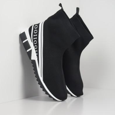 Мъжки маратонки тип чорап бял кант it260919-10 2