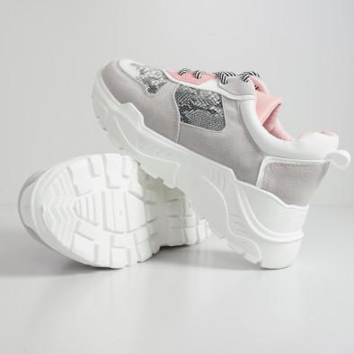 Сиво-розови дамски маратонки Snake мотив it110919-14 5
