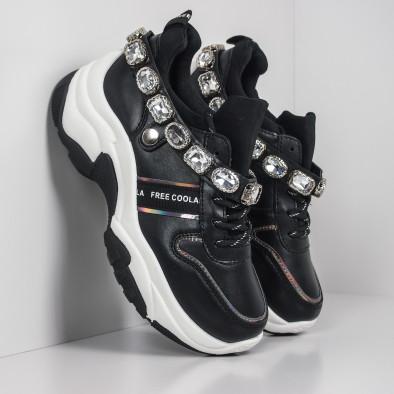Черни дамски маратонки с камъни it260919-62 2