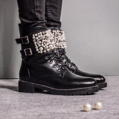 Дамски подплатени боти с перли и камъни it051219-18 4