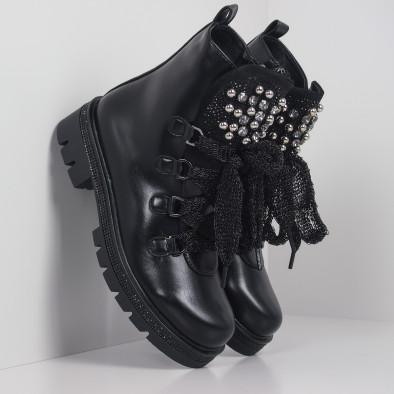 Черни дамски боти с камъни полирана кожа it260919-76 2