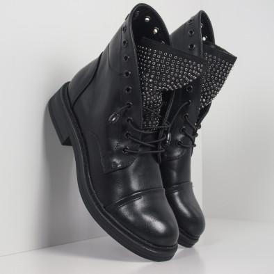 Дамски черни боти с декориран език it260919-67 2