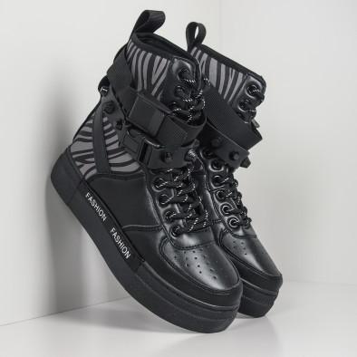 Дамски черни спортни боти тип кецове it260919-63 2