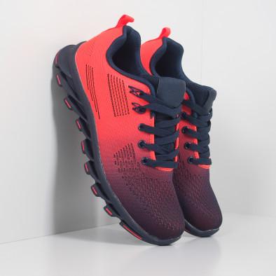 Синьо-оранжеви маратонки с релефна подметка it171019-1 5