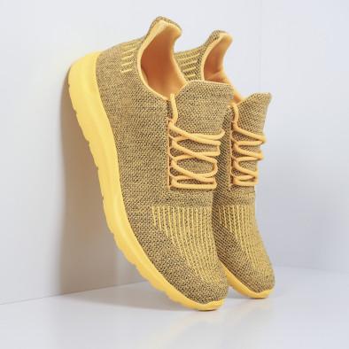 Мъжки маратонки жълт меланж с декорация it171019-2 2