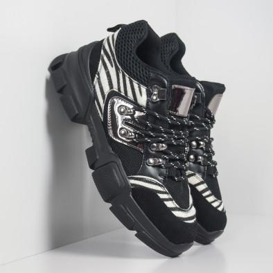 Дамски спортни обувки тип Hiker черно и зебра it281019-28 3