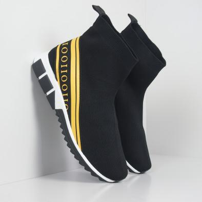 Мъжки маратонки тип чорап жълт кант it260919-11 2